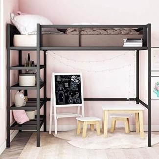 DHP Tiffany Storage Loft Bed con estante para libros, incluye estantes y espacio libre debajo de la cama, metal negro - Twin