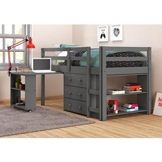 Cama baja tipo loft con escritorio DONCO KIDS 760-TDG, doble, gris oscuro