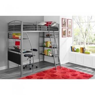 Dorel DHP Studio Twin Loft cama de metal con escritorio y