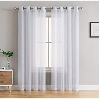 """HLC.ME Paneles de ojal de cortina de ventana transparente de 2 piezas - 45 """", 63"""", 72 """", 84"""", 90 """", 95"""", 108 """"pulgadas de largo"""