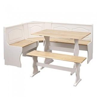 The Mezzanine Shoppe 25513NWH Knox Modern - Juego de rincones de esquina de 3 piezas, natural / blanco