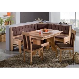 Juego de rincón de desayuno Bali Furniture Warehouse alemán, juego de comedor de madera clara de 4 piezas 100% hecho en Europa