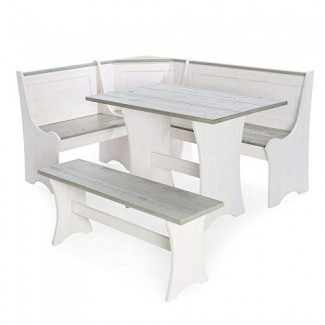 AffluentTop3 pc White Gray Top Breakfast Set de comedor Corner Booth Bench Mesa de cocina