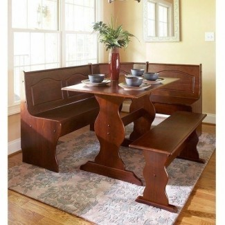 3 piezas de rincón de desayuno de madera de nogal Juego de comedor Corner Booth