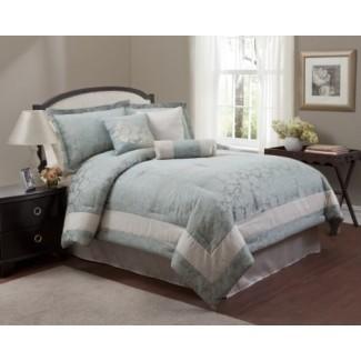 Juego de edredón y ropa de cama azul claro y blanco