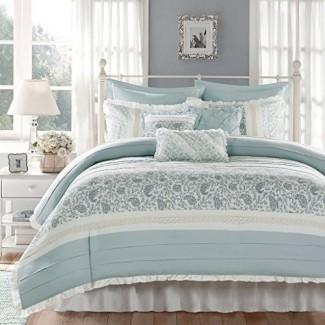 Juegos de edredón y ropa de cama azul claro y blanco