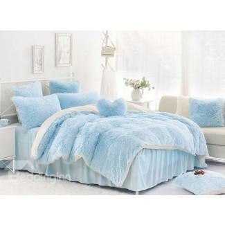 Bloqueo de color azul claro y blanco sólido de 4 piezas ...