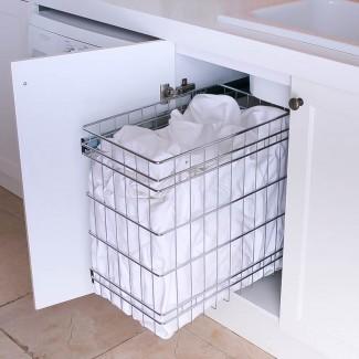 Cestas de lavandería extraíbles de acero inoxidable para almacenamiento ...