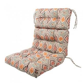 LNC Cojines para asientos interiores con cojines Cojines para exteriores Cojín para silla con respaldo alto Patio Azteca naranja