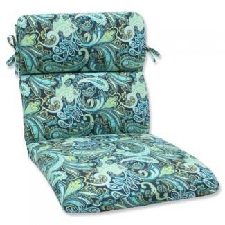 Almohada Perfect Outdoor Pretty Cojín para silla con esquinas redondeadas Paisley, azul