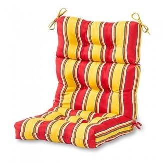 Greendale Home Fashions Cojín de silla con respaldo alto para exteriores, rayas de carnaval