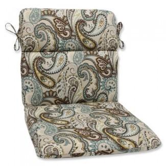 Cojín de silla Perfect Outdoor Tamara Paisley Quartz redondeado Cojín de silla