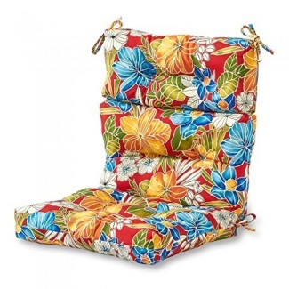 Greendale Home Fashions Cojín de silla con respaldo alto para interior / exterior, Aloha Red