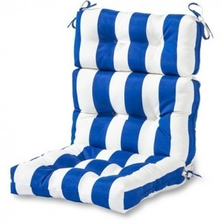 Cojín de silla con respaldo alto para exteriores, azul a rayas Cabana ...