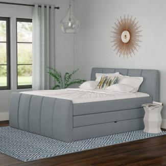 Cama estándar con almacenamiento tapizado Schwab con colchón