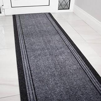 Alfombra de goma gris con respaldo de goma muy largo Pasillo del pasillo Alfombras estrechas Longitud personalizada - Vendido y tasado por pie