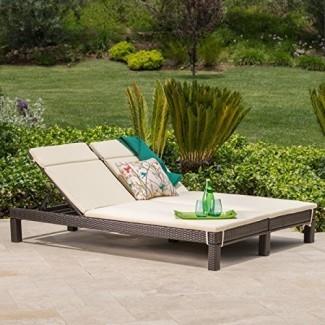 GDF Studio Patio Furniture ~ Silla de salón doble de mimbre para exteriores