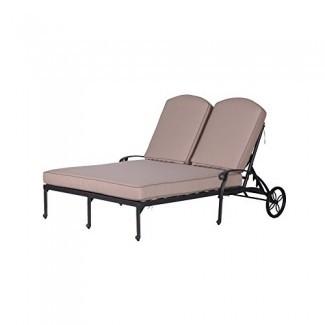 Tumbona iPatio Athens de doble chaise con cojín para uso en interiores y exteriores