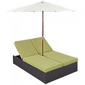 Modway Convene Wicker Rattan Outdoor Patio - Chaise Lounge doble y juego de paraguas en espresso Peridot