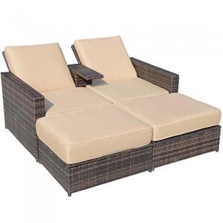 Juego de sillones de exterior de mimbre de mimbre PE de 3 piezas para exteriores, exterior