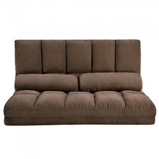 MIERES Sofá doble Chaise Lounge Sofá Sofá de piso con dos almohadas, marrón