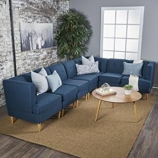 Juego de sofás seccionales de 7 piezas GDF Studio Milltown Mid Century Modern Fabric