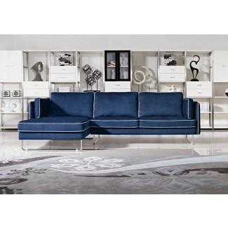2018 Sofás de cuero azul marino para un atrevido e impresionante