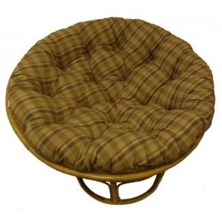 Tela escocesa de algodón Papasan Madras Plaid - Cojín de silla sobrecargado, sumérjase en nuestro grueso y cómodo papasan de gran tamaño, tela de pato 100% puro de algodón, se adapta a la silla redonda estándar de 45 pulgadas