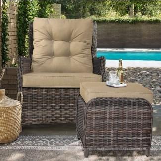 Cardoza - Silla reclinable para exteriores con cojines y otomana
