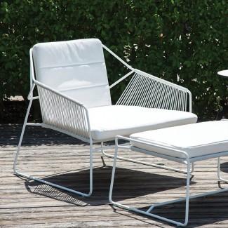 Sandur - Silla de patio con cojines Sunbrella y Otomana