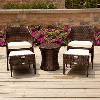 PAMAPIC Juegos de muebles de mimbre para patio, 5 piezas, sillas de mimbre para todo tipo de clima con otomana , Patio Cool Bar Table Perfect para interior, jardín exterior, parque, porche, junto a la piscina y patio.