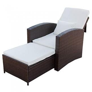 PatioPost Silla reclinable Push Back Club, sala de estar al aire libre, sofá individual, muebles acolchados para patio