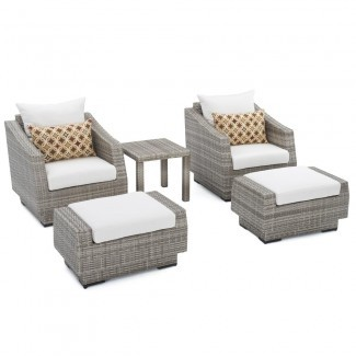 RST Brands Cannes 5-Piece Wicker Patio Club Chair y ...