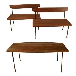Juego de mesa y banco para exteriores de madera y hierro: muy pesado en