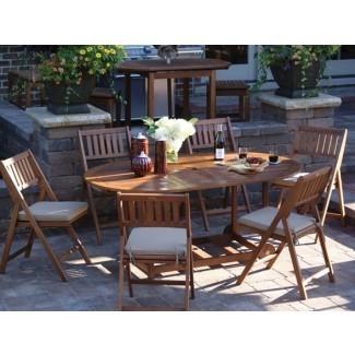 Interiores para exteriores, patio plegable de 7 piezas Juego de muebles