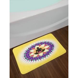 Icono de círculo redondo para Yoga Postura sentada Lotus Entrenamiento mental tranquilo Alfombra de baño de felpa antideslizante Imprimir