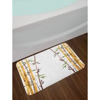 Bamboo Grove calma tu mente ralentiza Zen Relax alfombra de baño de felpa antideslizante dibujada a mano