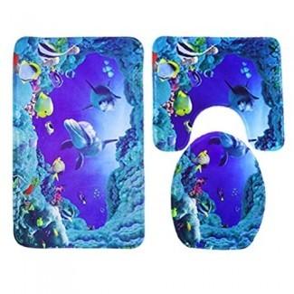3 piezas 45x75cm Ocean Style Underwater World Dolphin Carpe - Alfombrilla de baño - Alfombrilla de baño pequeña - Alfombrilla de baño Mind On Design - Alfombrilla de espuma viscoelástica - Conjuntos de alfombrilla para baño de 2 piezas
