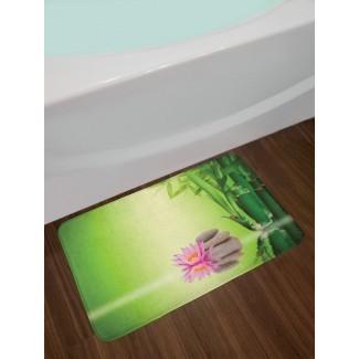 Spa Zen Garden Perspectiva asiática de autocontrol para refrescarse en la vida cotidiana Actividad consciente Imprimir Alfombra de baño antideslizante de felpa