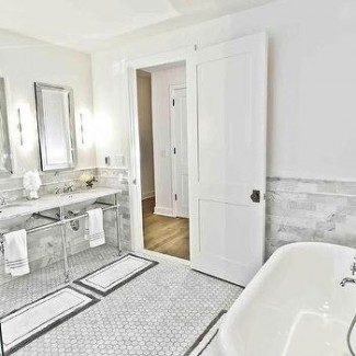 His and Her Bath Mats - French - bathroom -