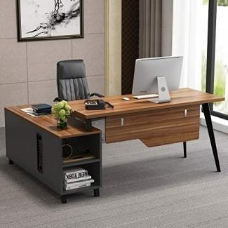 Escritorio en forma de L, Tribesigns Escritorio de oficina ejecutivo grande Mesa para computadora Estación de trabajo con almacenamiento, muebles de negocios con archivador, nogal oscuro + patas de acero inoxidable