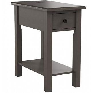 One Source Living Side Table con carga Estación en gris cepillado