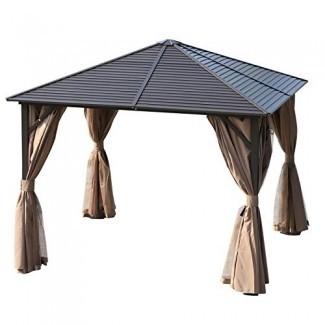 Gazebo de techo rígido para jardín, 10 x 10, de acero, con mosquitero y cortinas, marrón / negro