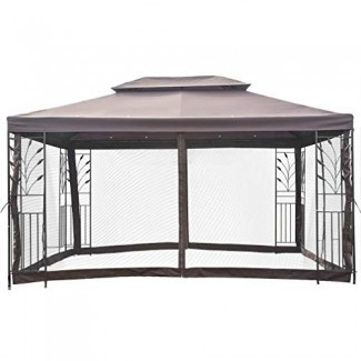 PayLessHere 10'x10 'Gazebo de metal al aire libre Mosquitera Paredes Paredes con marco de acero Gazebo de jardín ventilado