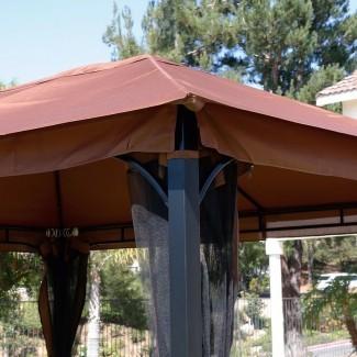 Patio de 10 x 12 Gazebo Canopy con mosquitera