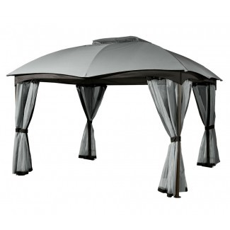 Santorini 10x14 Gazebo de techo blando con cortinas de privacidad y ...