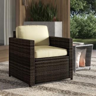 Belton - Silla de mimbre para exteriores con asientos profundos y cojín