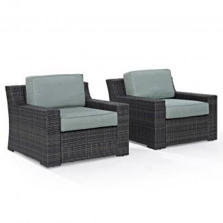 Linwood Silla de patio con asientos profundos con cojines (juego de 2)
