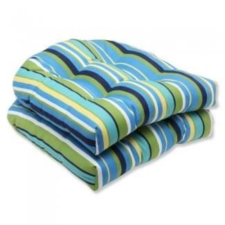 Cojín de asiento de mimbre Pillow Perfect Outdoor Topanga Stripe Lagoon de mimbre, juego de 2