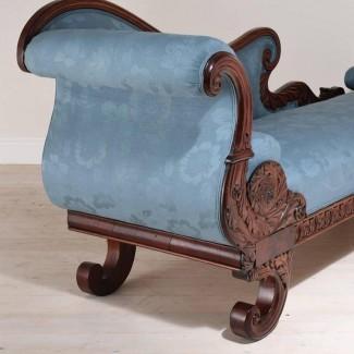 Century Century Empire Recamier o Fainting Couch in Mahogany .. .